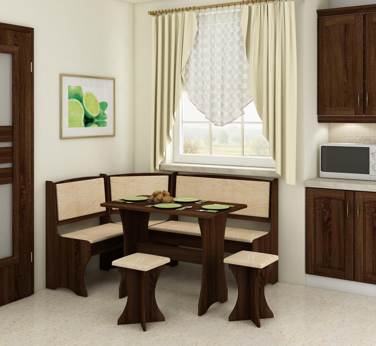 Rohový jídelní set - WIP - dub sonoma tmavá + monaco (s taburetkami) (pro 5 osob)