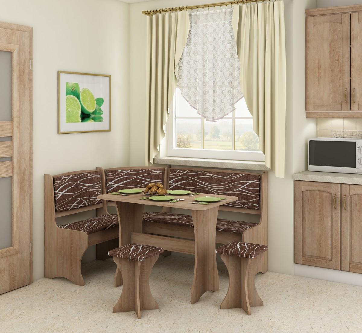 Rohový jídelní set - WIP - dub sonoma světlá + safari (s taburetkami) (pro 5 osob)