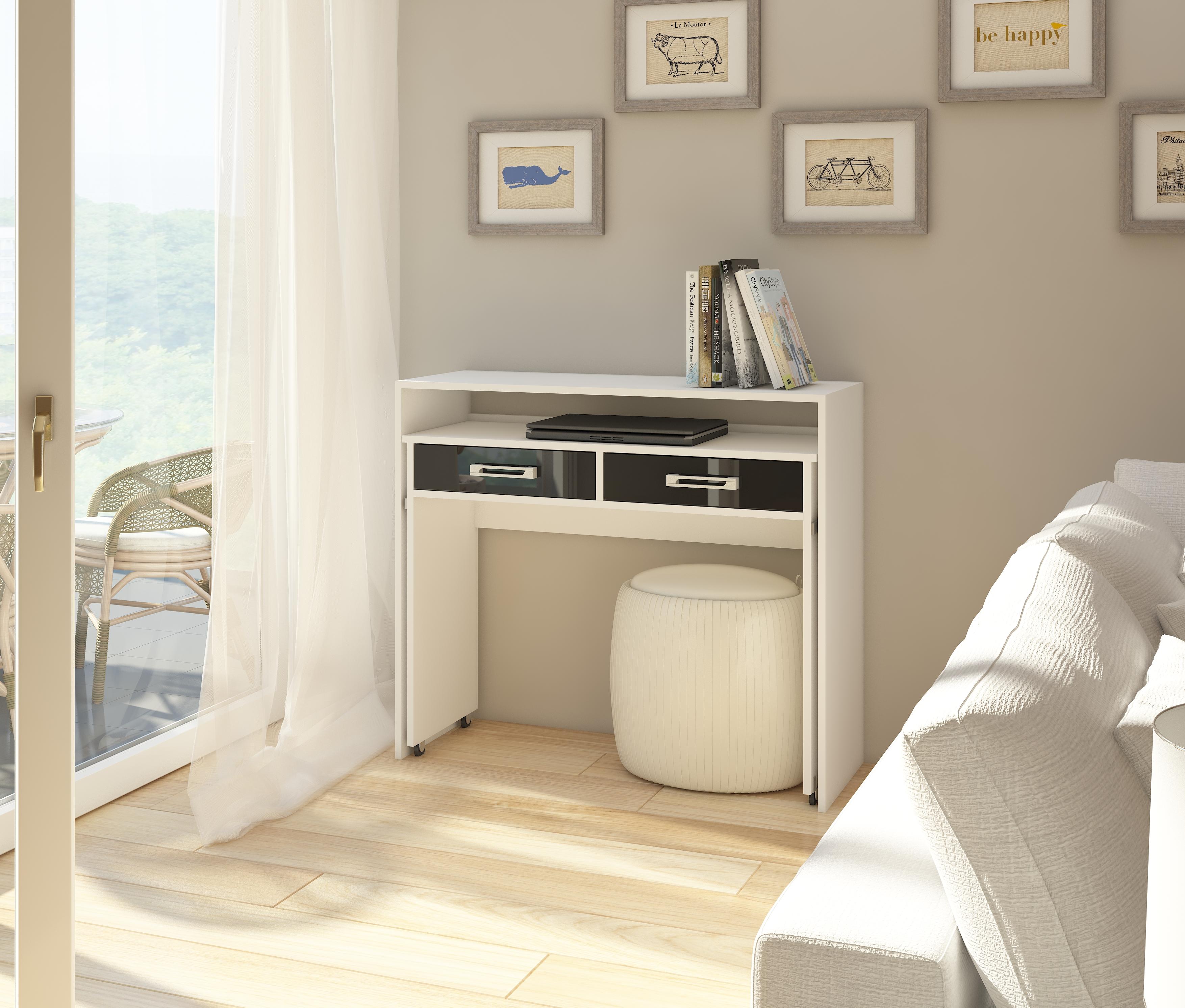 PC stolek - WIP - Zoom bílá + lesk černý